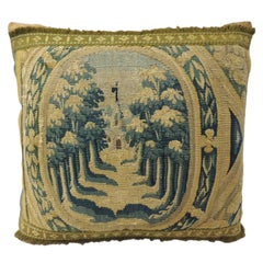 18th Century Gold and Green Verdure Tapestry Decorative Pillow