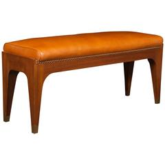 Elegant French Brass-Mounted Leather Bench