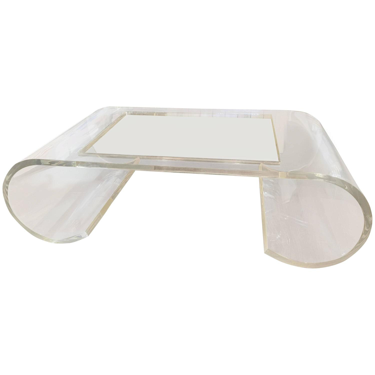 Scroll Lucite Coffee Table In The Style Of Charles Hollis Jones At 1stdibs
