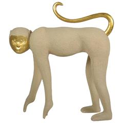 Large Monkey Sculpture with Gilt Decoration