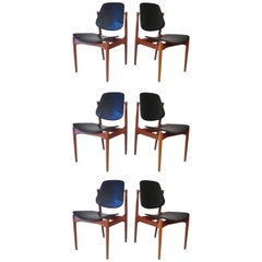 Six Arne Vodder Solid Teak Dining Chairs