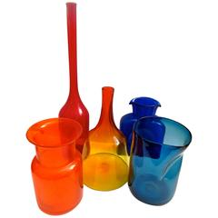 Assorted Collection of Five Mid-Century Glass Vases and Bottles by Blenko