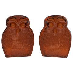 1960s Blenko Glass Owl Bookends