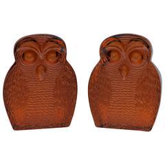 1960s Blenko Glass Owl Bookends