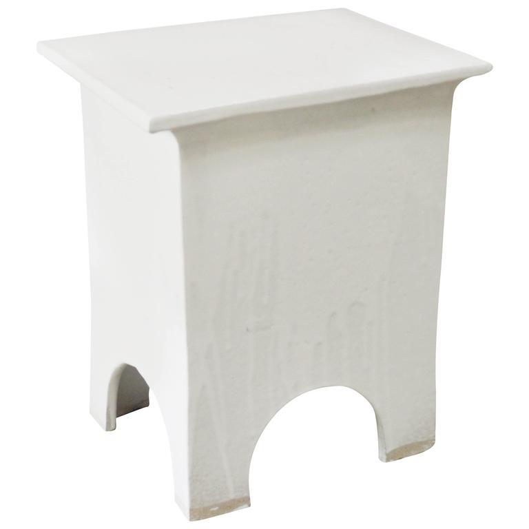 """Modern Artisan Series Stool and Side Table """"Blanco"""""""