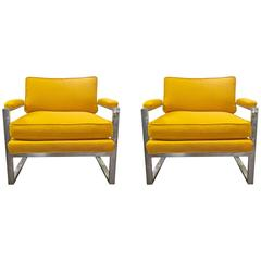 Pair of Milo Baughman Chrome Lounge Chairs