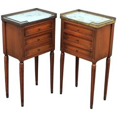 Pair of French Nightstands with Marble Tops