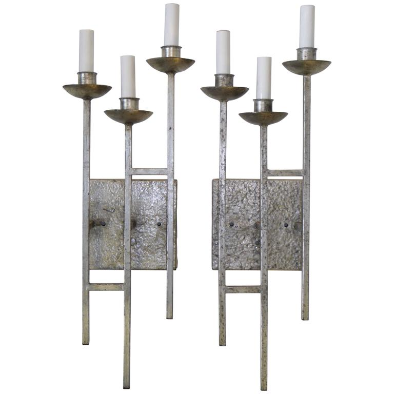1960s Sconces Hammered Silvered Metal Appliques For Sale