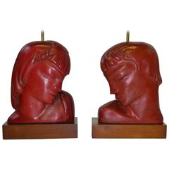 Art Deco Kupur Head Table Lamps in Cinnabar Red, 1930s