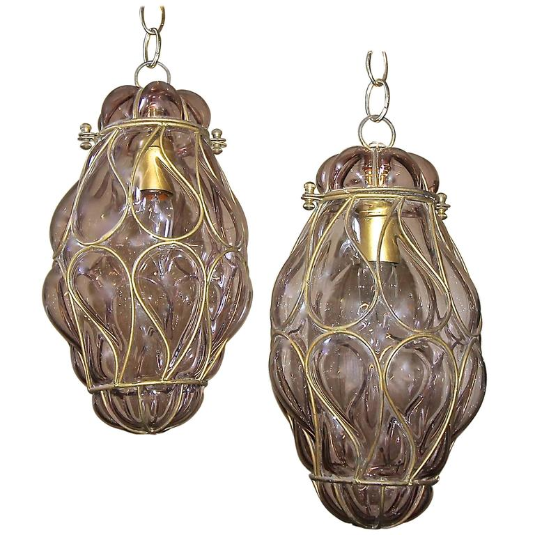 Pair Of Venetian Murano Amethyst Caged Glass Pendant Or