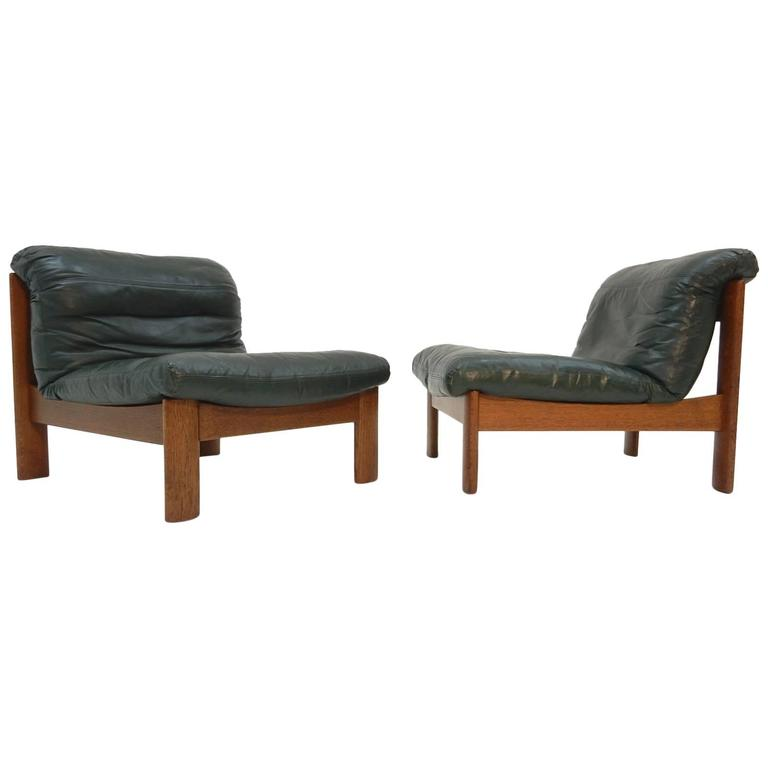 Mid-Century Modern Low Leather Lounge Chairs Style of Afra and Tobia ...