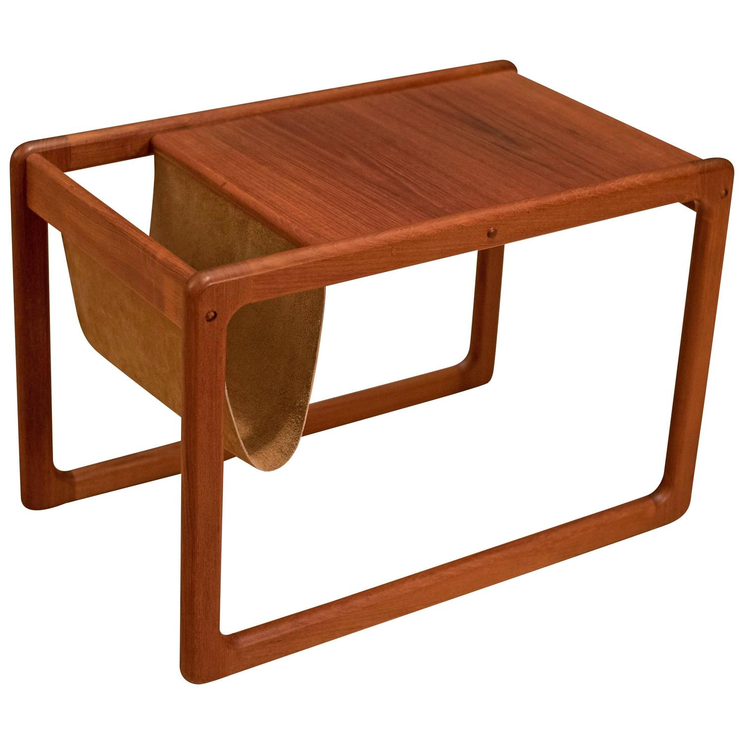 Old Charm Coffee Tables Ebay: Vintage Danish Leather Magazine Rack Side Table For Sale