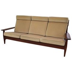 Brazilian Mid-century Modern Mahogany and Beige Mohair Sofa