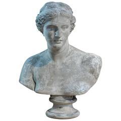 19th Century French Plaster Bust Woman Statue