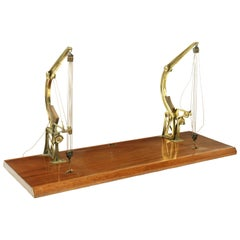 Late 19th Century Model of a Pair of Brass Davit Type Cranes