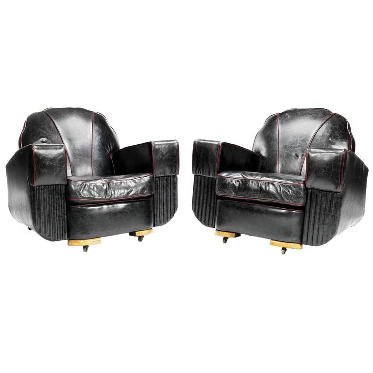 Pair of Art Deco Club Armchairs
