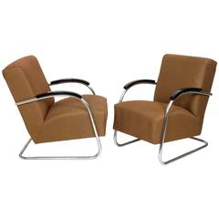 Pair of 1930s Bauhaus Mücke & Melder Steel Tube Armchairs, Upholstered