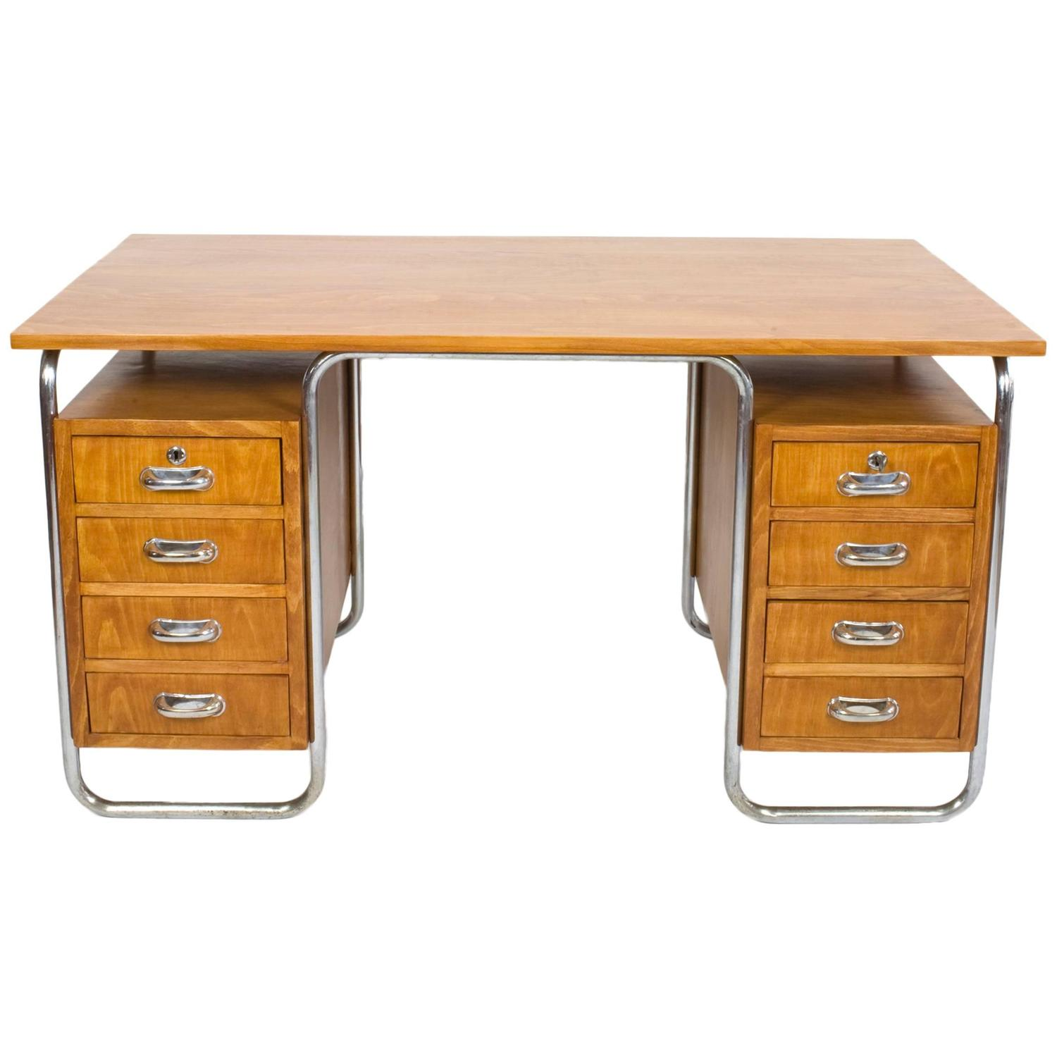 1930s Bauhaus Chrome Steel And Beech Desk By Rudolf Vichr For At 1stdibs