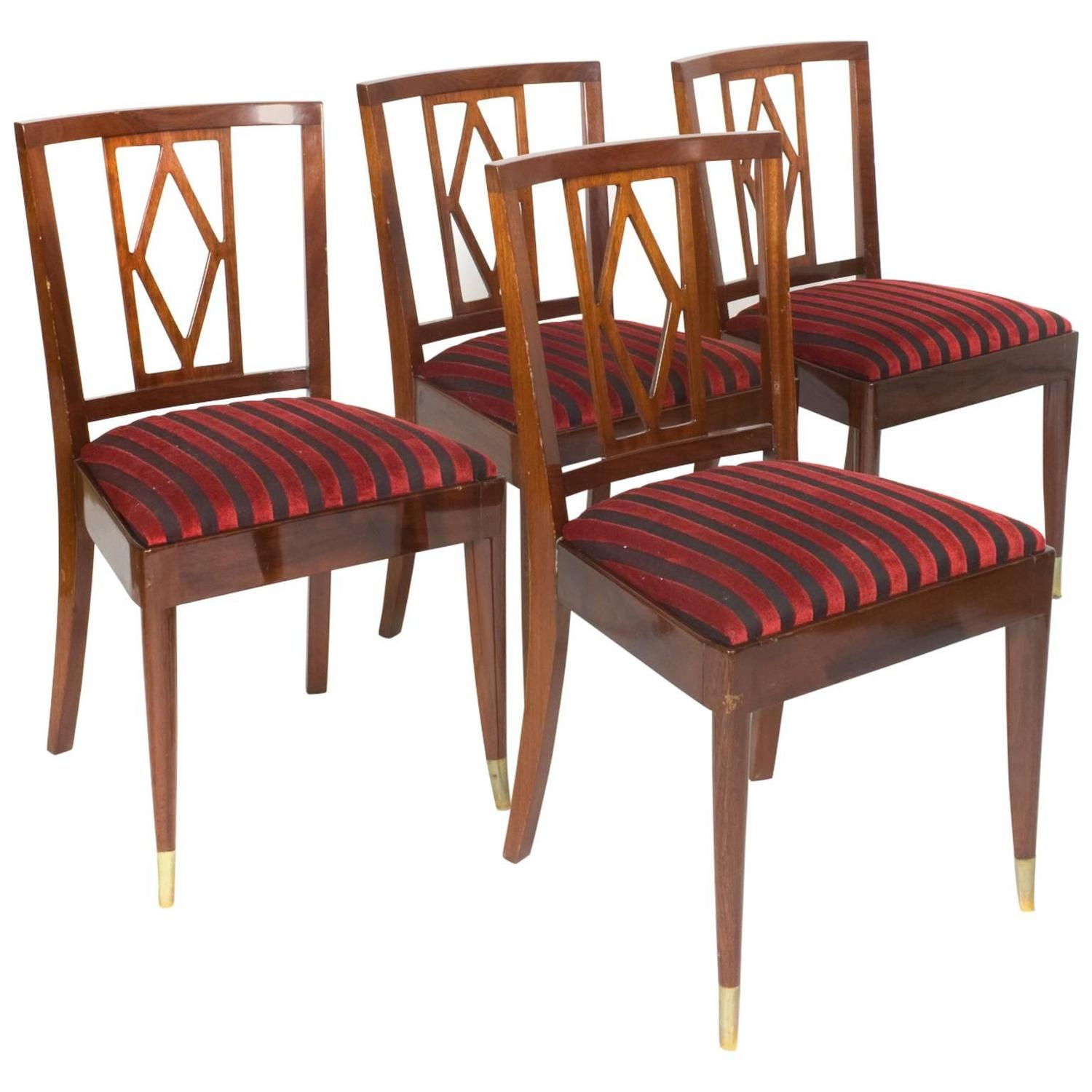 Four mahogany dining room chairs by josef de coene 1950s for Dining room sets 4 chairs
