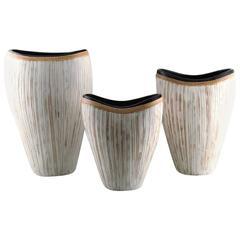 Three Large Modern Pottery Vases, Light Glaze and Wickerwork