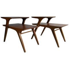 Drexel Profile Walnut Step Tables by John Van Koert, Modernist