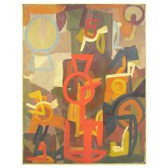 Mid-Century Abstract Symbolist Oil Painting by Harold Mesibov Dated 1955