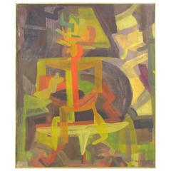 Abstract Symbolist Mid-Century Oil Painting by Harold Mesibov, 1954