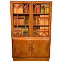 Beautiful Burr Walnut and Walnut Art Deco Period Bookcase