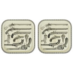 Pair of Beautiful Pistol Trays Attributed to Piero Fornasetti, 1960s