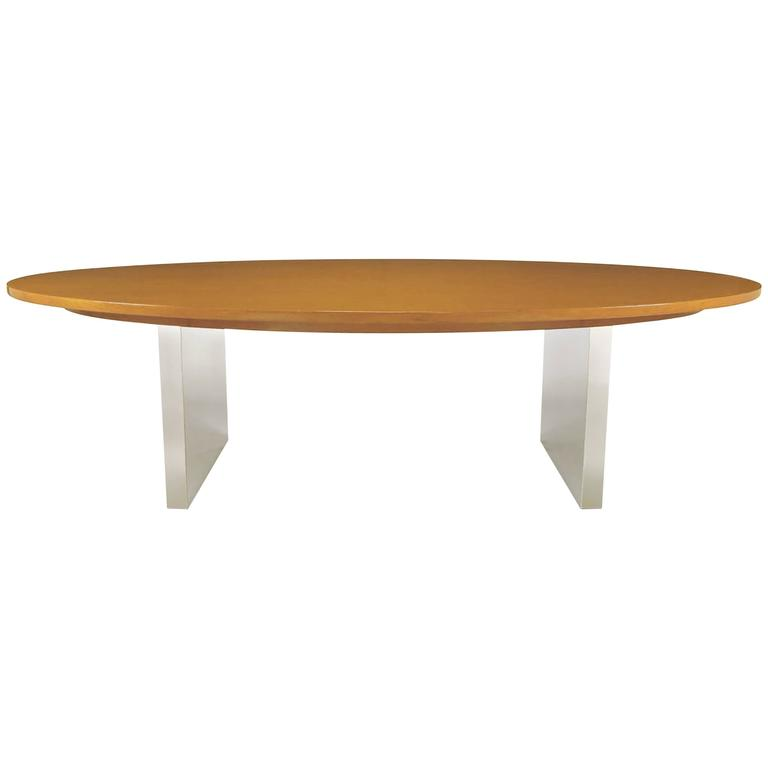 Dunbar Oval Ash and Polished Steel Dining Table