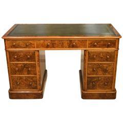 Burr Walnut Victorian Period Antique Pedestal Desk