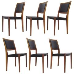 Set of Six Danish Modern Rosewood Dining Chairs by Svegards