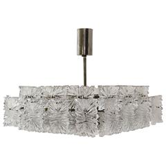 Beautiful Mid-Century Modernist Etched Glass Chandelier by Kinkeldey