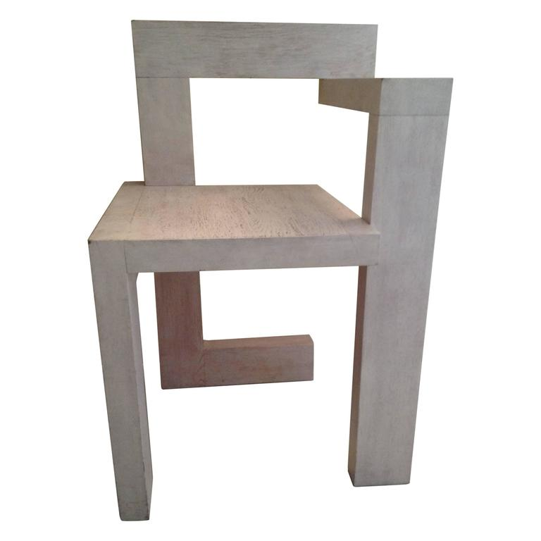 Steltman Chair By Gerrit Rietveld White Stained Oak 1963