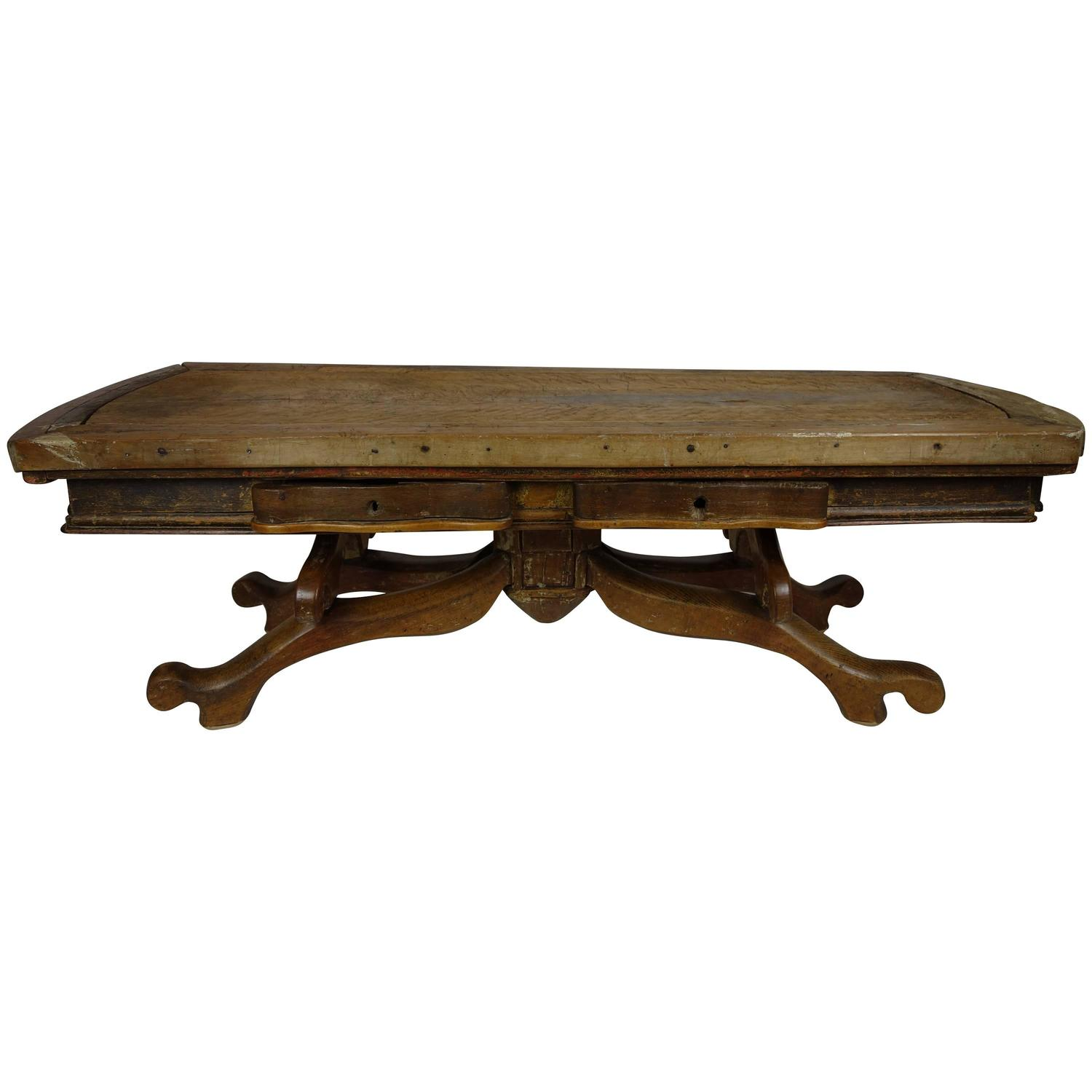 one of a kind french butcher block coffee table at 1stdibs