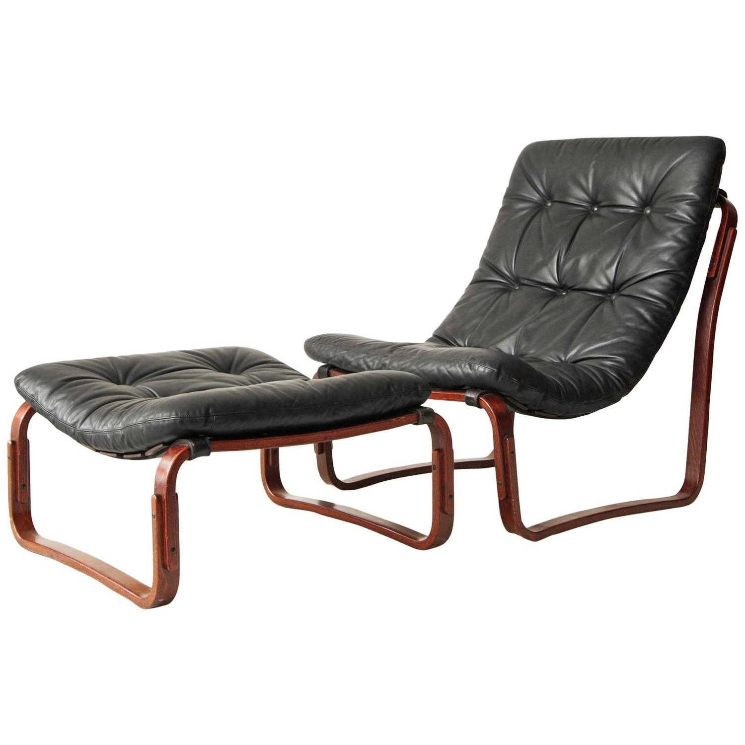 Ingmar Relling for Westnofa Black Leather Chair and Ottoman
