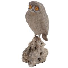 Carved Stone Owl Sculpture