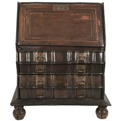 Sculptural 19th Century Dutch Colonial Slant Lid Desk and Chest of Drawers