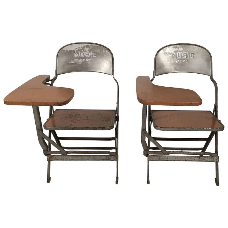 Pair of Music Department Folding Chairs with Desk Arms at 1stdibs