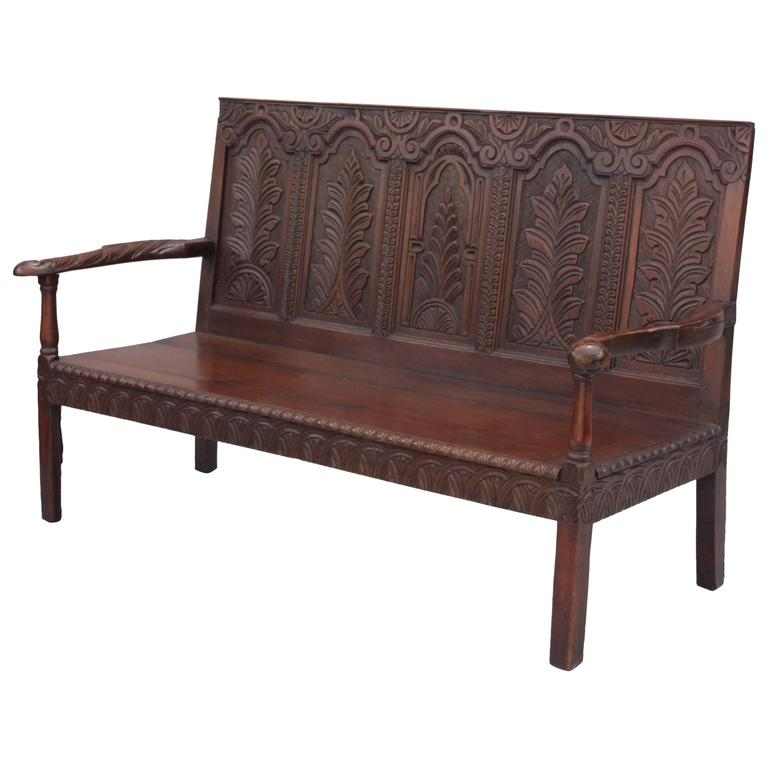 Finely Carved Oak Bench Settle With Arms At 1stdibs