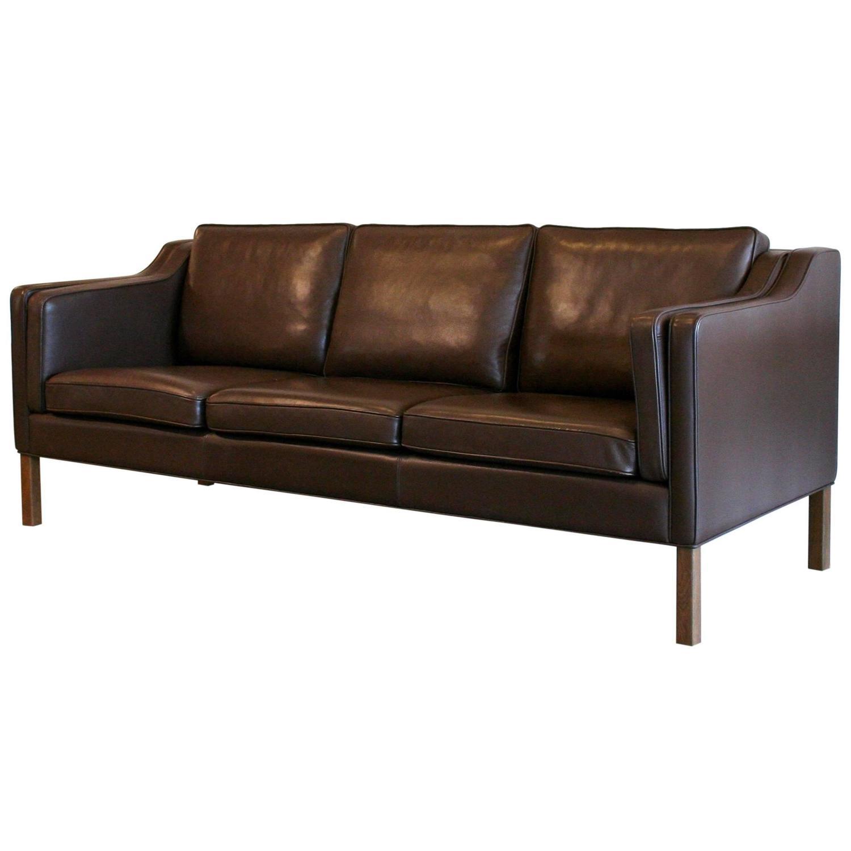vintage danish brown leather sofa at 1stdibs