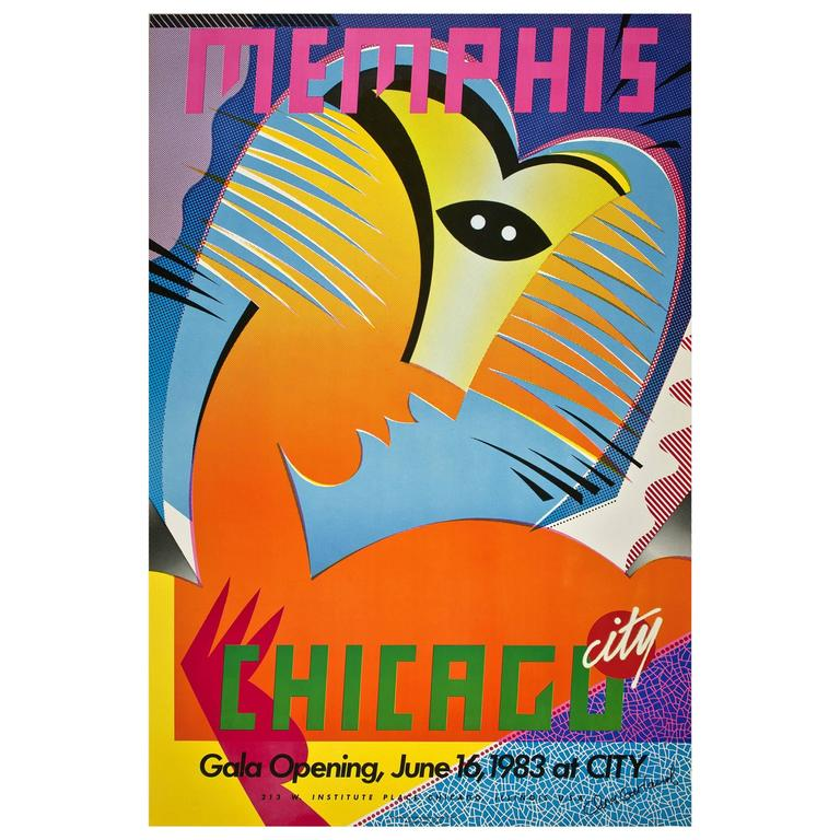 Original Memphis Poster for Chicago City Store, 1983 by Chris Garland 1