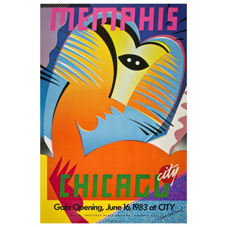 Original Memphis Poster for Chicago City Store, 1983 by Chris Garland For Sale