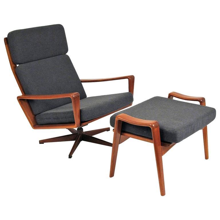 Scandinavian Teak Rocking Lounge Chair And Ottoman For Sale At 1stdibs