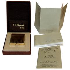 S.T. Dupont Gold-Plated Lighter in Original Box with Papers