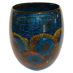 Vivid Colorful Handblown Art Glass Vase Signed