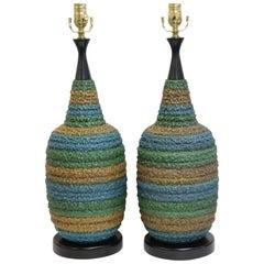 Pair of Multicolored Ceramic Lamps