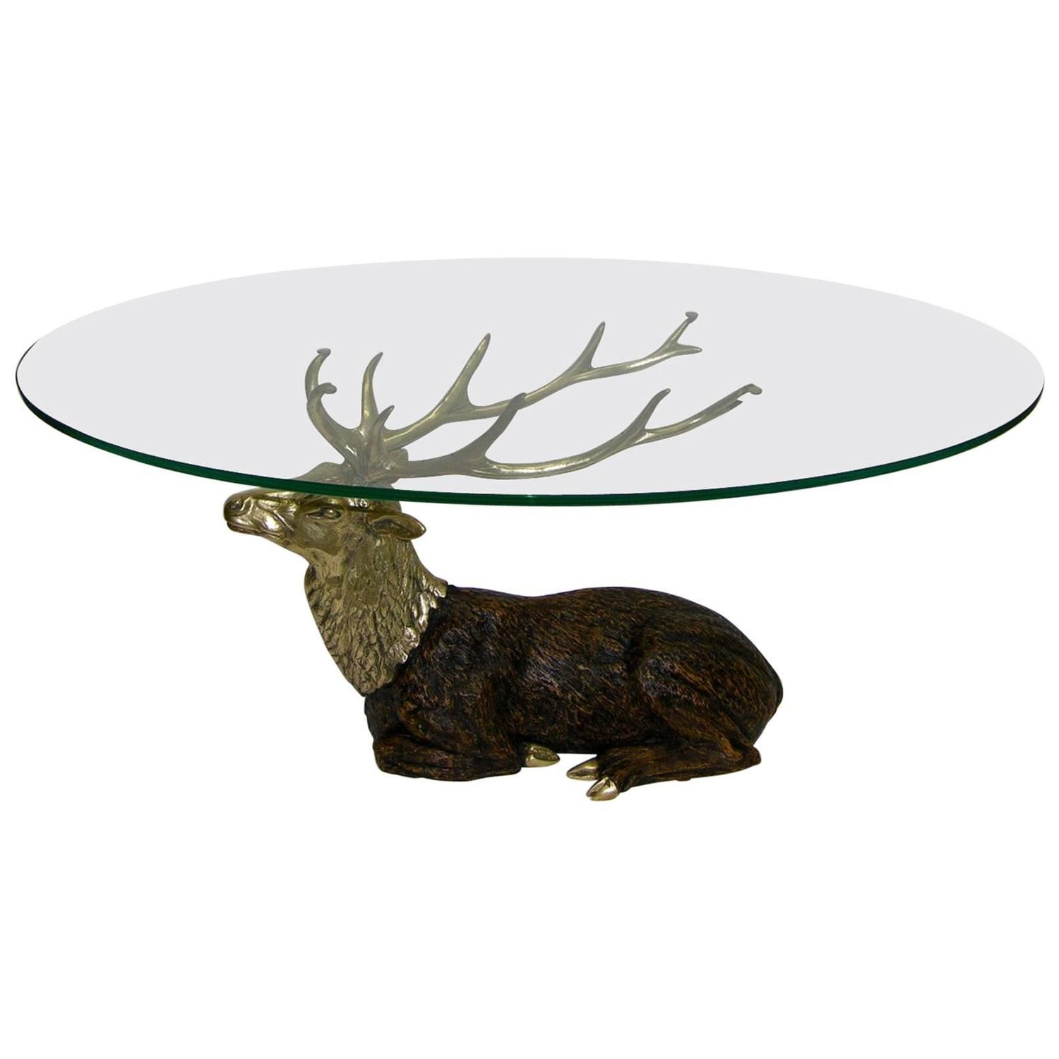 1970s Vintage Italian Deer Antler Oval Coffee Table at 1stdibs
