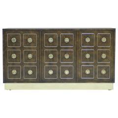 Mastercraft Burl Wood and Brass Cabinet