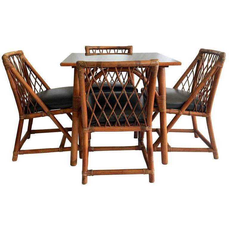 1950s tommi parzinger for willow u0026 reed nine piece rattan dining set 1